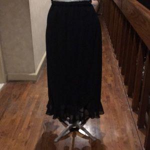 MSK polyester black lined flair bottom skirt 14